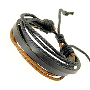 Neptune Giftware Mens Black Leather Double Strap & Black & Brown Coloured Cords Leather Bracelet / Leather Wristband / Surf Bracelet - 88