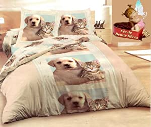parure de lit housse de couette animal chien chat taie d 39 oreiller animaux duvet cover. Black Bedroom Furniture Sets. Home Design Ideas
