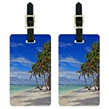 Tropical Beach - Island Sky Clouds Vacation Luggage Suitcase Carry-On ID Tags Set of 2