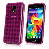 BoxWave Argyle Galaxy S5 Crystal Slip - Slim-Fit Preppy Argyle Pattern TPU Gel Skin Case for Durable Anti-Slip Protection - Galaxy S5 Cases and Covers (Cosmo Pink)