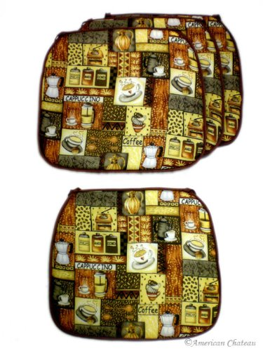 Cover set 4 coffee decor kitchen cushion chair covers pads cafe decor