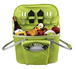 Picnic at Ascot Bold Collection Apple Collapsible Picnic Basket for Two