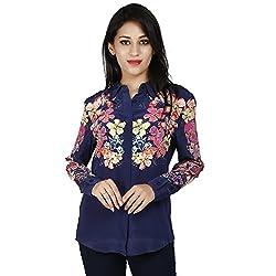 LALANA Blue Floral Print Silk Shirt