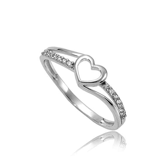 Heart of gold zirconia engagement ring