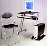BLACK COMPUTER DESK HOME OFFICE PC DESKTOP WORK TABLE PADDED CHAIR FURNITURE SET