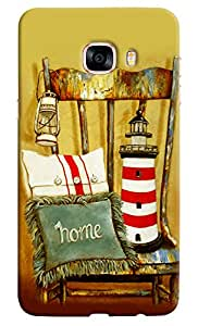 Omnam Lamp Cushion Tower Lying On Old Wooden Chair Printed Designer Back Cover Case For Samsung Galaxy C7