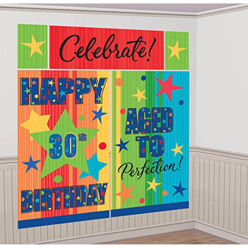Amscan 30th Birthday Celebration Party Scene Setters, Multicolored