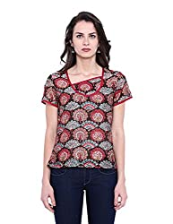 Fabindia Women's Body Blouse Shirt (10426067_Black and Pink_Small)