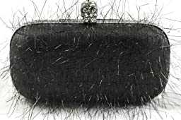 INS Feathered Skull Clutch Black