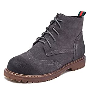 Sangreen Vintage Polish Flat Ankle Short Boots for Women Grey 39