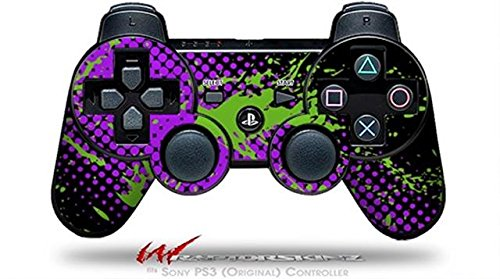 Sony PS3 Controller Decal Style Skin - Halftone Splatter Green Purple (CONTROLLER SOLD SEPARATELY) wood grain oak 01 holiday bundle decal style skin set fits xbox one console kinect and 2 controllers xbox system sold separately
