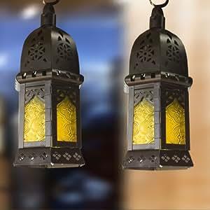 Case Of 12 Yellow Moroccan Hanging Lanterns Wedding Candle Glas