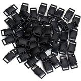 50pcs Boucles à déclenchement latéral en plastique 3/8 po Noir - Accessoires pour Grands sangle, collier de chien, Paracord Bracelets