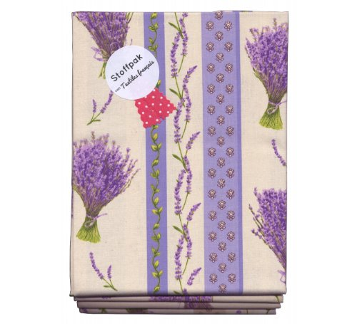 Stoffpak Fabric Pack - Lavender & Co. - Stoffpak Containing 4 Pieces of Beautiful Fabrics - 31.5 Inches X 31.5 Inches (80 X 80 Cm) Each