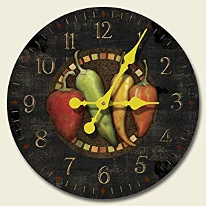 Cantina Chili Peppers 12-inch Decorative Wood Wall Clock by Highland Graphics