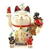 Feng Shui Maneki Neko Lucky Cat Coin Bank for Wealth (With a Betterdecor Logo Gift Bag)