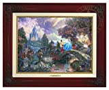 Cinderella Wishes Upon a Dream (Disney Dreams IV) Thomas Kinkade Framed 12x16 Classic Canvas (Brandy)