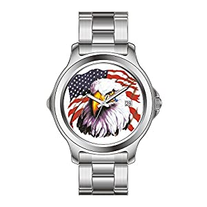 AMS Christmas Gift Watches Womens Fashion Japanese Quartz Date Stainless Steel Bracelet Watch Patriotic Peace Fingers In USA Flag American Wrist Watches