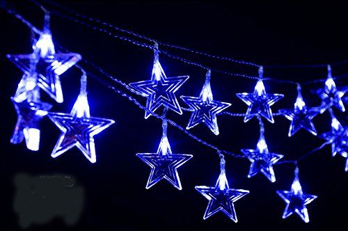 Gorgeouseve 10M(33Ft) 100-Count Colorfur Big Stars Led (Blue) Light String Beautiful Christmas Tree Lights For Xmas Holiday Decoration And Wedding Lights National Day With 110V Plug