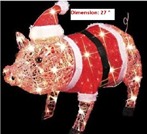 Amazon com 3 d lighted christmas pig holiday outdoor decoration