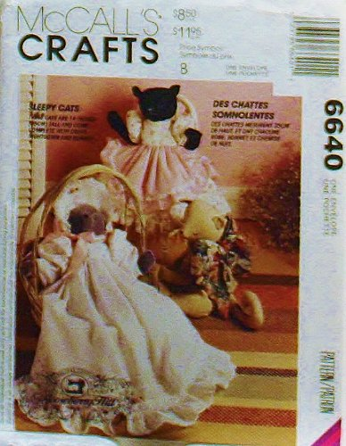 """Oop Mccalls Crafts Pattern 6640. 14"""" Stuffed Cats + Dress, Christening Gown & Bonnet. Designs By Gooseberry Hill. Must See, Outstanding Pattern!"""