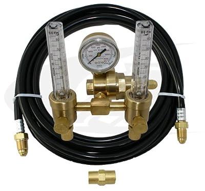 Premium TIG Welding Dual Flowmeter/Regulator with Gas Hose Kit