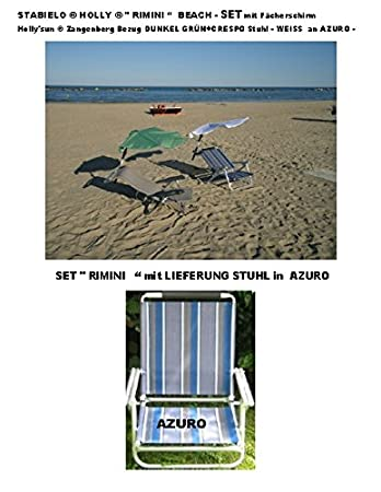 "- - Beach - de ocio de la playa de vacaciones - kit de viaje STABIELO - Holly - ""Rimini"" - - ALU - Azuro tumbona contenido - 2.8 kg + correa + Holly fácil ' SUN con pantalla (1.2 kg) - Colour Verde oscuro + 360° soporte giratorio arti"