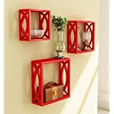 Onlineshoppee Home Decor Premium Solid Wood Shelf Rack Wall Bracket Handicraft Design Size(LxBxH-11x4x11) Inch...