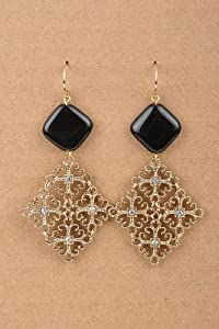 "* Fancy filigree drop earrings * 1.5""W x 2.5"" L approx. * Handmade STYLE NO. 	E2139BK cross black stone rhinestone crystal metal earings earrings woman girl teen ear decoration HanduDD"