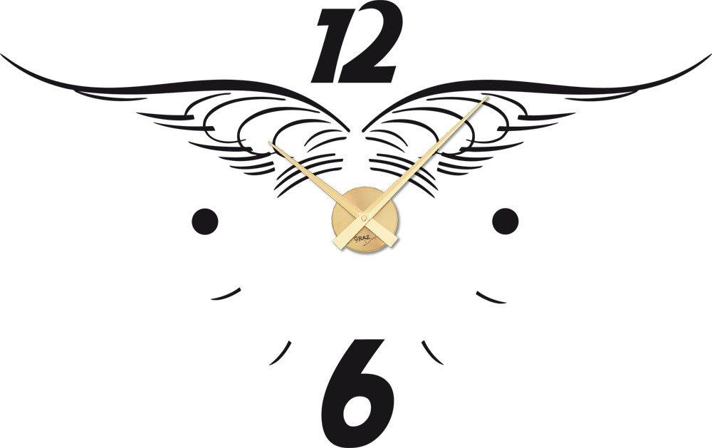 Wandtattoo Wandaufkleber Uhr Wanduhr Engels Flügel Deko für Kinderzimmer (Farbe=070 schwarz / Uhrwerk=Gold) online bestellen