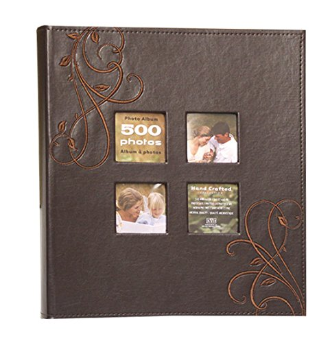 Kleer-Vu Photo Embroidery Leather Collection, Holds 500 4×6 inches Photos, 5 Per Page – Brown.