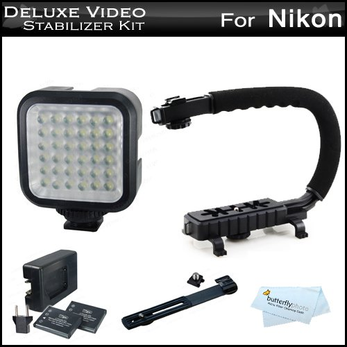 Deluxe Led Video Light + Video Stabilizer Kit For Nikon Df, D3200 D5200 D5300 D5100 D3300 D3100 D7000 D90 D300S D3S D800 D610 Includes Video Bracket Action Stabilizing Handle + Deluxe Led Video Light Kit W/ Support Bracket + 2 Li-Ion Batteries + Charger +