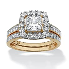 buy Princess-Cut White Cubic Zirconia 18K Gold Over .925 Sterling Silver 2-Piece Square Bridal Set