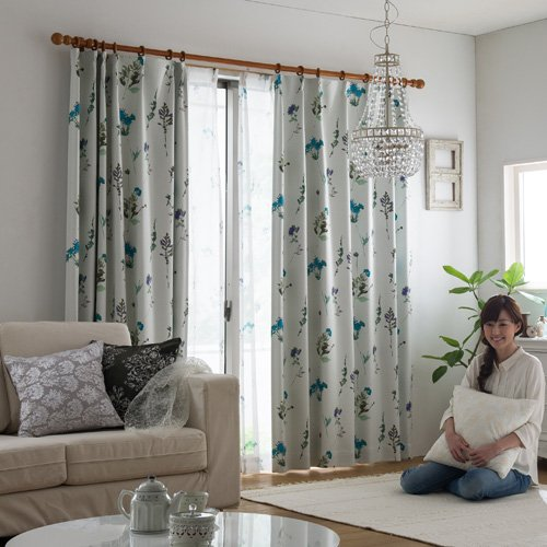 IN-FA-LA フレンチデザインカーテンシリーズ 2級遮光形状記憶カーテン「VELVETREMEMBRANCE」(幅100cm×丈135cm/2枚組)ターコイズ