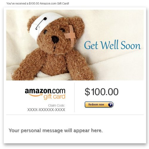 Amazon Gift Card - Email - Get Well Soon (Teddy Bear)