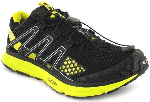 New Mens/Gents Black Salomon Xr Mission Trail Running Shoes/Trainers - Black/Black/Yellow - UK 7-12.