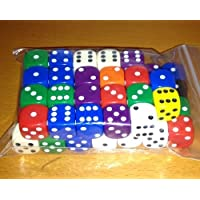 Dice, 50 x 16mm rounded corner spot dice - mixed colours (Toy)