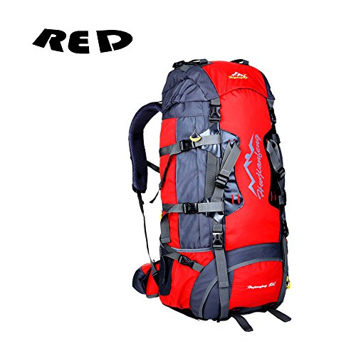 Azaker large 80L Internal Frame Hiking Backpack Water-resistant Nylon Trekking Bag for Climbing, Camping, Hiking, Travel and Mountaineering with Orange Rain Cover (Red) (22 Liter Backpack Rain Cover compare prices)