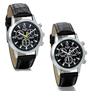 JewelryWe 2PCS Mens Unique Watches Analog Date Quartz Business Casual Leather Band Dress Wrist Watch
