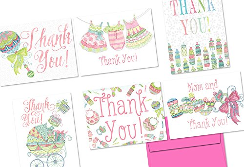 72-note-cards-extra-sprinkles-baby-thank-you-pink-6-designs-blank-cards-hot-pink-envelopes-included