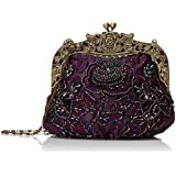 MG Collection Elaine Antique Beaded Rose Evening Purse
