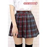 プリーツスカート【チェック柄:グレーチェック】(Mサイズ) ■TeenS Ever ミニスカート 制服 女子高生■