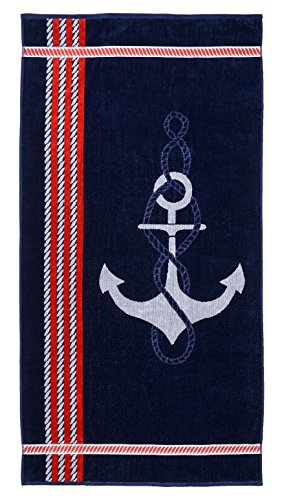 Superior Collection Luxurious Jacquard Cotton Beach Towels, Oversized, Anchor