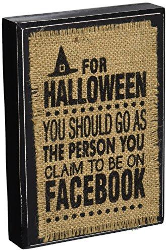 [Mud Pie Facebook Halloween Plaque] (Halloween Decor Online)