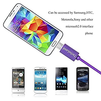 Techoland Colorful [3 PACK] Premium Micro USB to USB Cable High Speed USB 2.0 A Male to Micro B for Android, Samsung, HTC, Nokia, Portable Charger, Power Bank, Smartphones, Tablets and more from Techoland