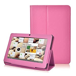 Wisedeal Slim Fit Folio Stand pu Leather Case Cover for 7 Inch Android Tablet(Q88) PC with free wisedeal keyrings (Hot pink) from Wisedeal