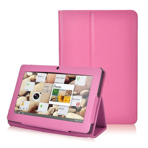 NSSTAR Folio Stand Faux Leather Flip Protection 7-Inch Tablet Case for Zeepad, Chromo, Alldaymall, Matricom, Tagital, Android Tablet Q88, Alldaymall A88X, NeuTab N7 Pro, Chromo Inc - Hot Pink
