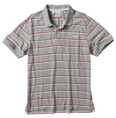 Onfire Mens Yarn Dyed Striped Polo Grey Marl Size Large