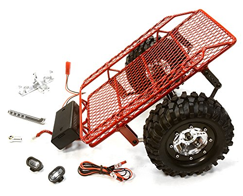 Integy RC Hobby C26340RED Realistic Leaf Spring 1/10 Size Low Side Trailer for Scale Crawler Truck