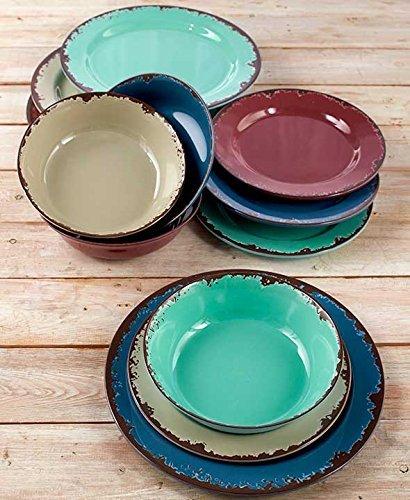 12-Pc. Rustic Melamine Dinnerware Set 1